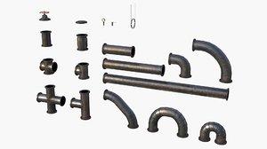 modular pipes metallic 3D model