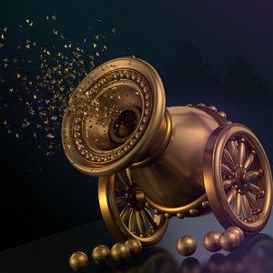 cannon vintage old 3D model