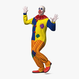 bald clown dancing pose 3D
