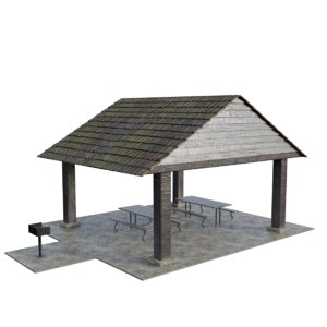 3D model park shed table grill