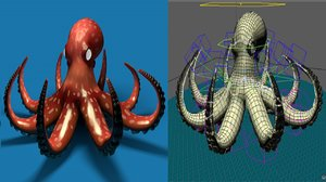 3D octopus rigged model