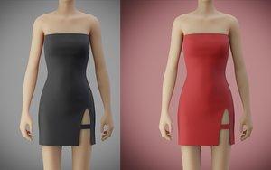 3D model tube bodycon dress slit