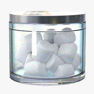 3D jar cotton swabs model
