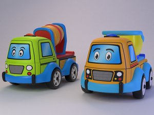3D toy truck cement mixer model