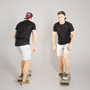 sporty handsome man riding 3D model