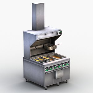 3D deep fryer machine model