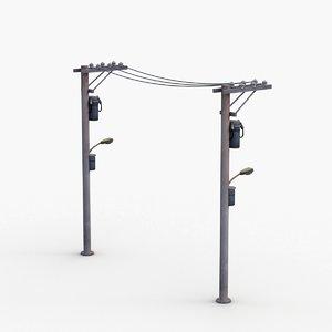 electric line pole 3D model