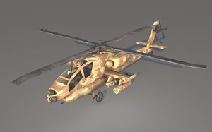 3D model ah 64 apache helicopter
