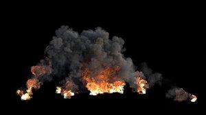 3D explosion smoke vdb flame model