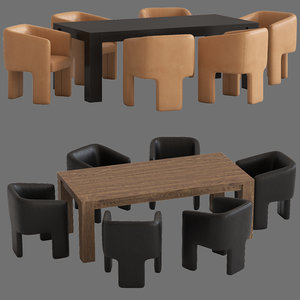 coco republic phoenix dining chair 3D model