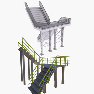 stairs set 3D model