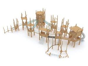 wooden playground barrier 3D