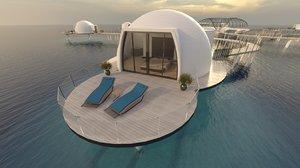 sea chalets bedroom kitchen 3D