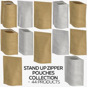 3D stand zipper pouches - model