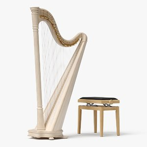 realistic lever harp bench 3D model