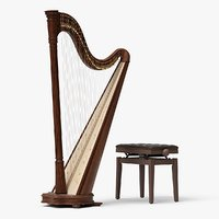 Lever Harp with a Bench 02