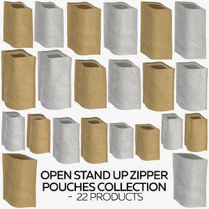 open stand zipper pouches 3D model