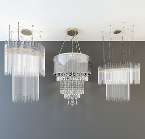 3D model crystal chandelier light