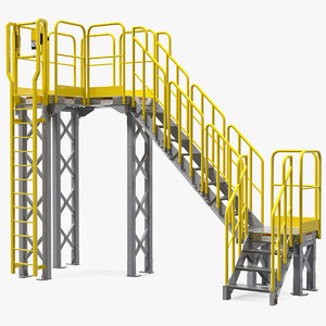 3D industrial catwalk staircase model