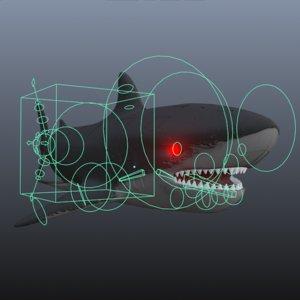 rigged sharks animate 3D model