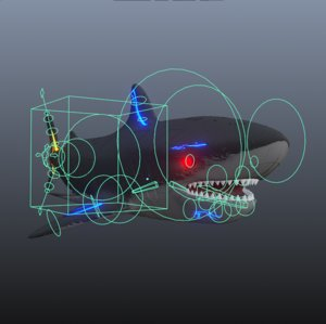 3D rigged sharks animate