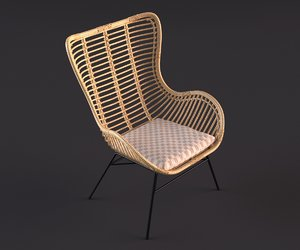 rattan wing chair 3D