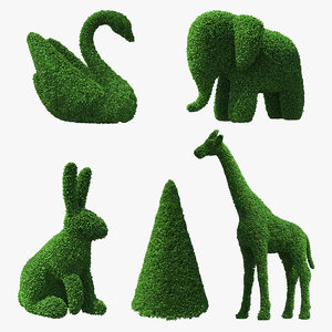 topiary garden sculptures 3D model