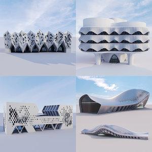 3D futuristic building 4x 4