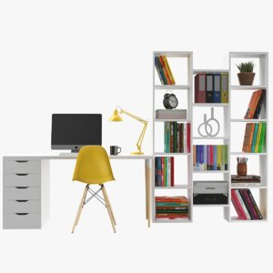 3D model real modern books case