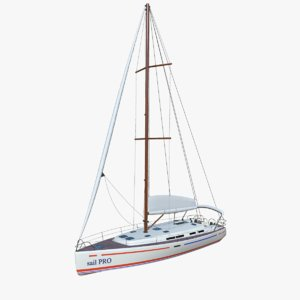 3D model sailing yacht boat pbr
