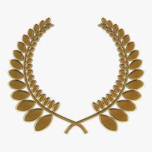 wreath emblem gold v 3D model