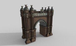 barcelona triumphal arch 3D model