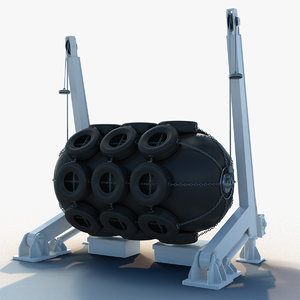 3D floating pneumatic fender davit