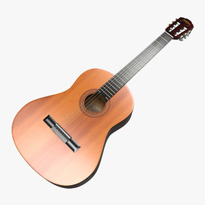 acoustic classic guitar 3D model
