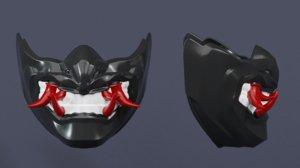 japanese mask samurai 3D