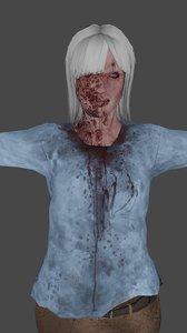 3D zombie woman low-poly ready