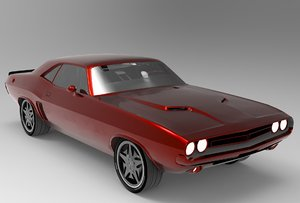 3D red dodge challenger