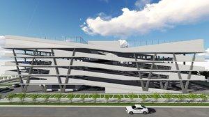 parking garage basketball soccer field 3D