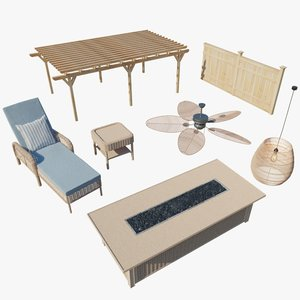 outdoor patio set 3D model