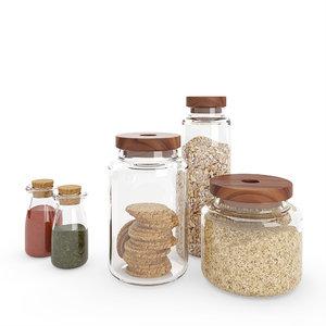 3D kitchen glass jars