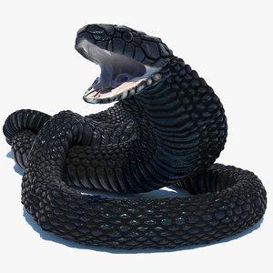 3D model rigged egyptian cobra snake