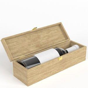 3D wine bottle wooden box