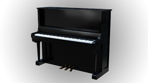 3D upright piano