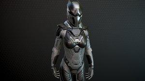 sci-fi girl solder character body 3D model