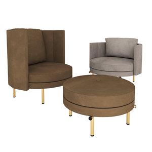 minotti torii armchairs 3D
