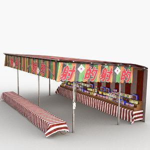 3D model japanese street stall 0008