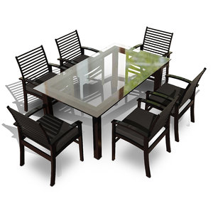 3D 6-seater dining set seat
