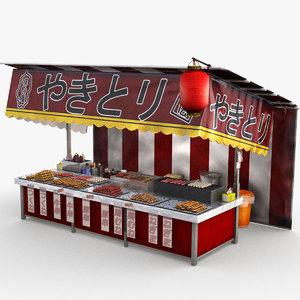 3D japanese street stall 0002 model