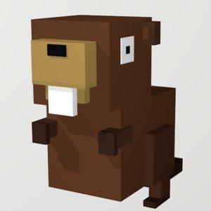 beaver voxel art 3D model