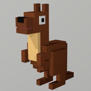 3D kangaroo animal
